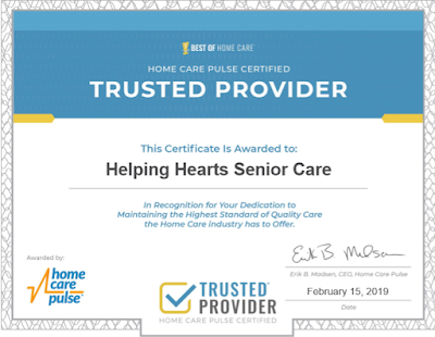Helping Hearts Senior Care is Now A Home Care Pulse Certified - Trusted Provider