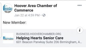 Helping Hearts Senior Care has joined the Hoover Chamber of Commerce